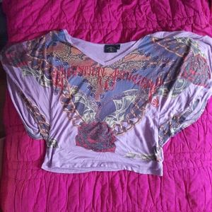 Vintage batwing foiled graphic top